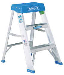 2' Type IA Aluminum Stepladder Double channel braces on bottom step, non-slip feet (11080) product image.
