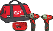 "Milwaukee® M12 Lithium-Ion Cordless Driver Combo Pk. 3/8"" drill/driver and 1/4"" hex impact driver. Built-in LED lights, battery indicator. Includes 2 batteries, charger, carry bag. (2302040) product image."