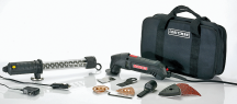 Craftsman® Multi-Purpose Tool Compact 2.0 amp motor. 0-15,000 variable opm. LED light. Includes attachments for cutting, sanding, scraping, filing, grout removal and more. (2302636) product image.