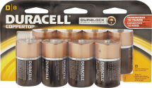 Duracell Batteries. C or D 8/pk. or 9-Volt 4/pk 3100476, 3100856, 3102605 limit 4 at this price. product image.