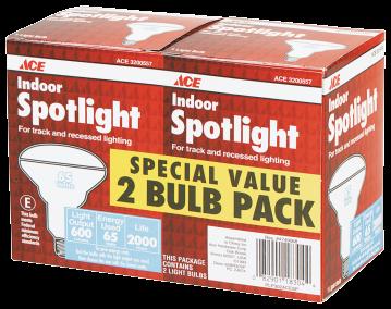 65 Watt Indoor Floodlight or Spotlight 2/Pk. 2000 hr. average life For track or recessed lighting 3200540, 3200557 product image.