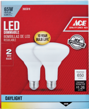Ace LED Floodlight Bulb 2/Pk. 65 watt equivalent. Lasts 10+ years. Soft White or Daylight. 3565801, 3565819 product image.