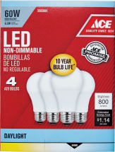 Ace LED Bulb 4/Pk 40 or 60 watt equivalent, Soft White or Daylight. Lasts 10 + years. 3565843, 3565884, 3565892, 3565926 product image.