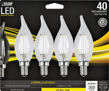 Dimmable LED Candelabra Bulb 4/Pk. 40 watt equivalent. Lasts 13+ years. (3597374) product image.