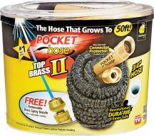 Pocket Hose Top Brass II 50 FT. (6292296) 75' 6292312...$39.99 100' 6388284... $49.99 product image.
