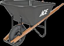 "6 Cu. Ft. Poly Wheelbarrow Poly tray, hardwood handles, 16"" tire. (7331739) product image."