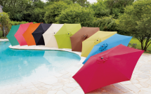 Living Accents® 9' Market Umbrella Steel frame, push-button tilt, polyester fabric. Assorted colors product image.