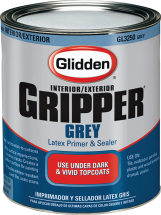 Glidden™ Gripper Grey – Latex Primer & Sealer Gallon Grey primer provides superior basecoat for vivid colors. Tintable to appropriate shades of grey. Limits number of topcoats required for even the most vivid colors. GL3210, GL3250 product image.
